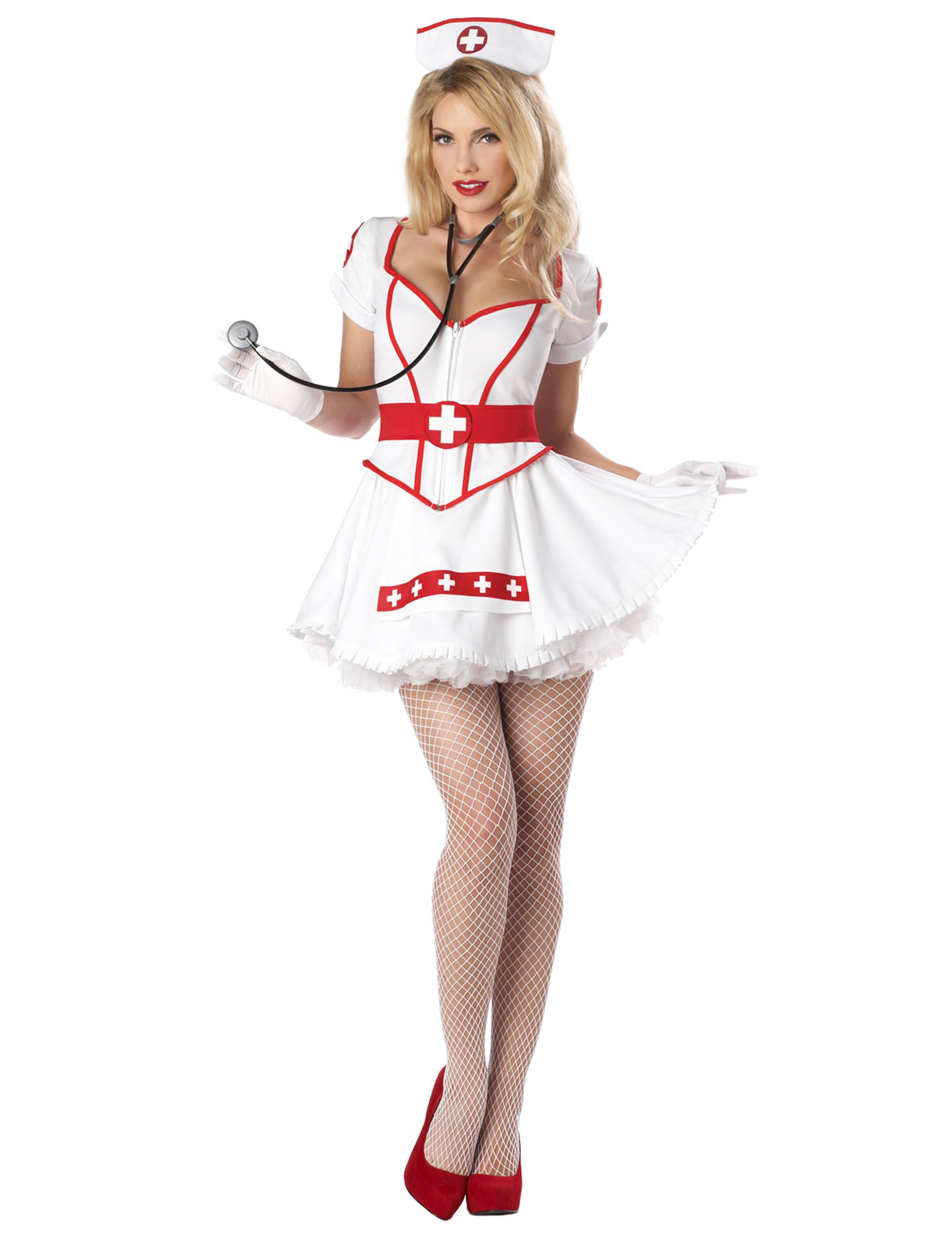 4f75d692d93b0 Sexy nurse's outfit for women: This nurse's outfit for women includes a  dress, a belt and a nurse's hat (gloves, tights, skirt, shoes and  stethescope not ...