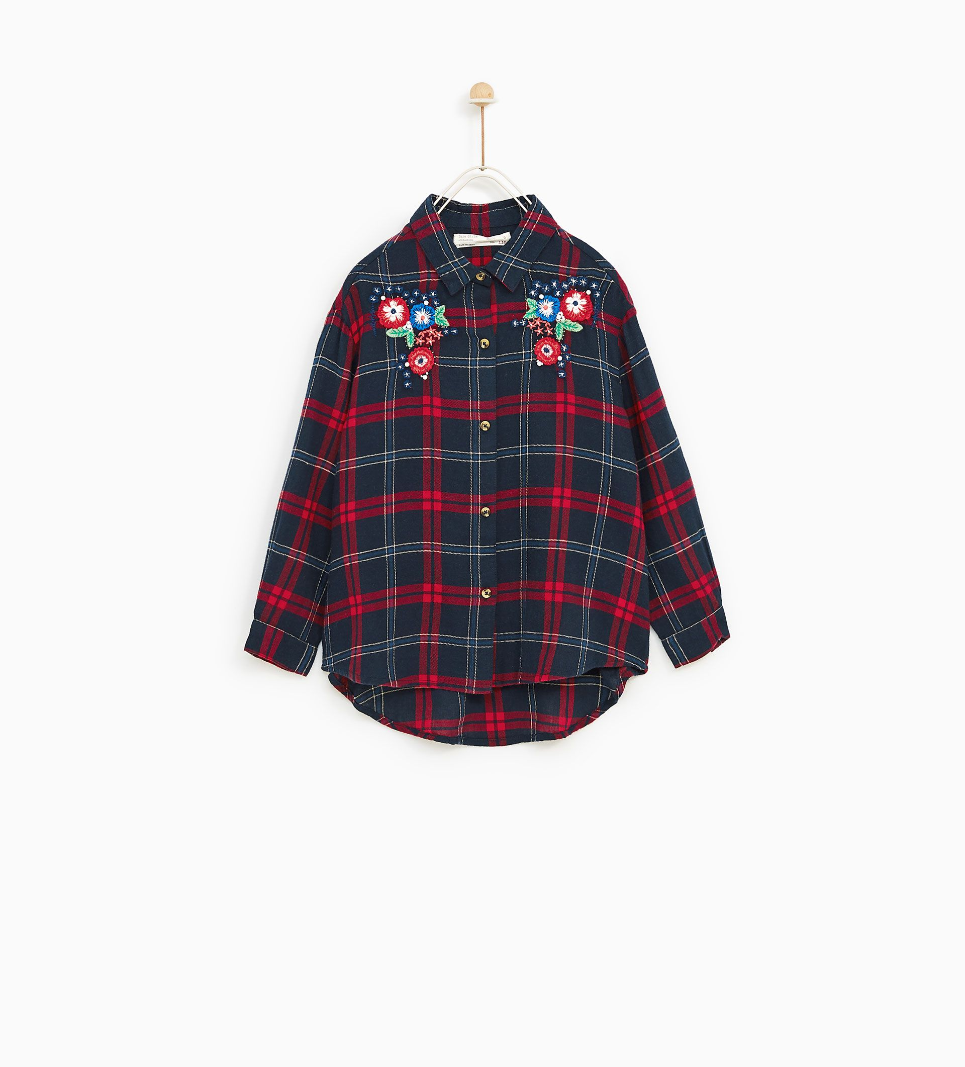 80b8ae61088 Image 1 of CHECKED SHIRT WITH EMBROIDERED FLOWERS from Zara CHECKED SHIRT  WITH EMBROIDERED FLOWERS -