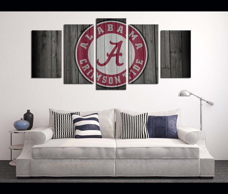 5 Pieces Football Canvas Art Print Alabama Logo Artwork For Wall