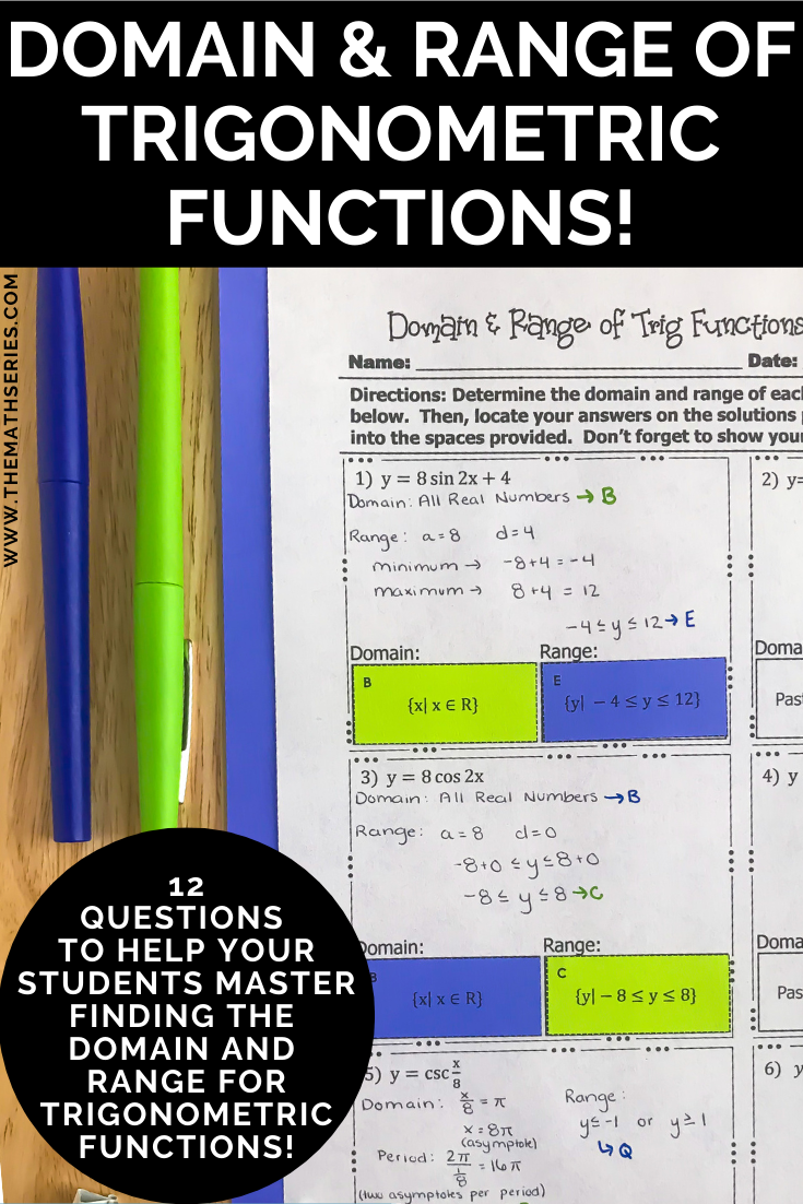 Domain And Range For Trigonometric Functions Trigonometric Functions Secondary Math Precalculus
