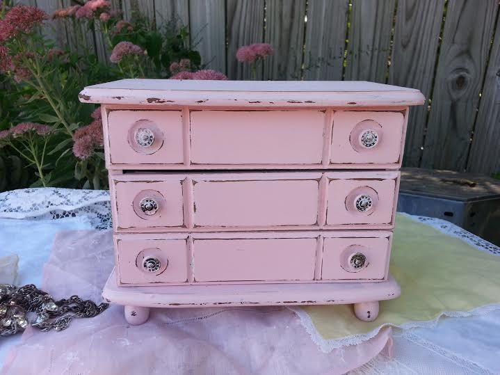 Pink Jewelry Box Upcycled Pastel Pink Jewelry Box Distressed