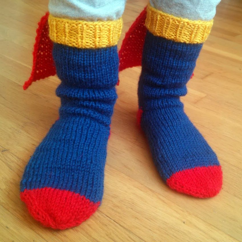 Super cute Superman (girl) socks! I might have to make myself a pair ...