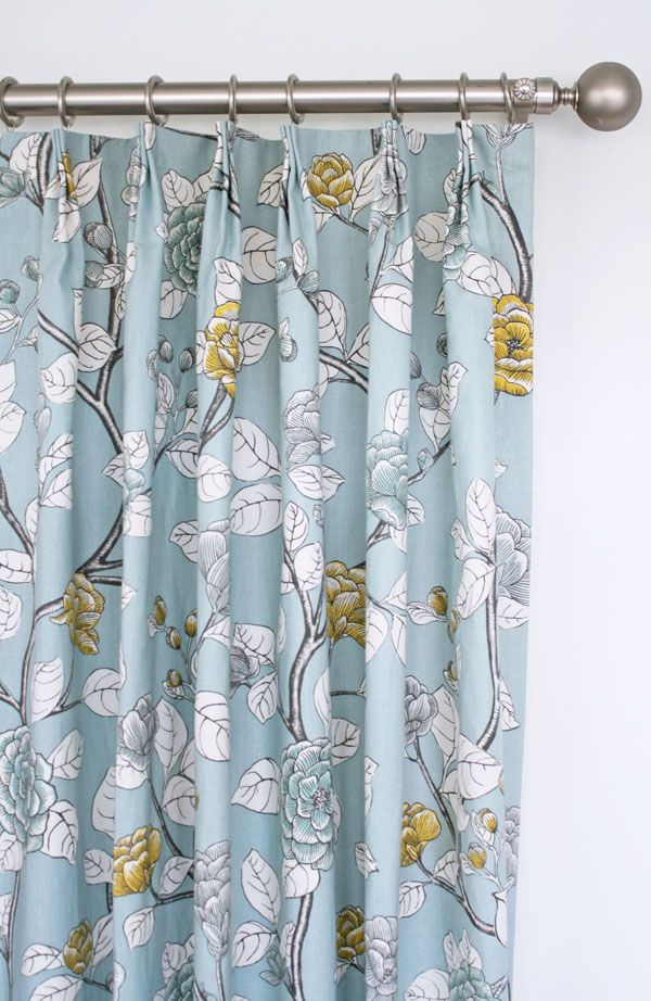 Soft Blue Floral Drapes With Charcoal Grey Yellow And White