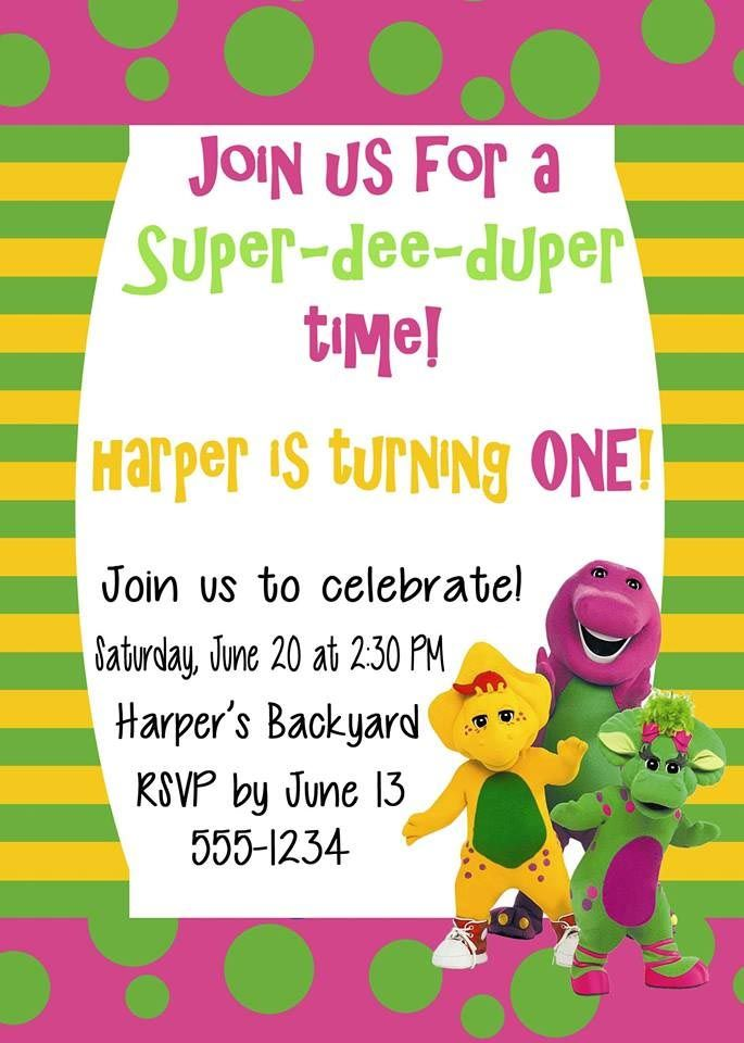 Free Printable Barney Birthday Party Invitations