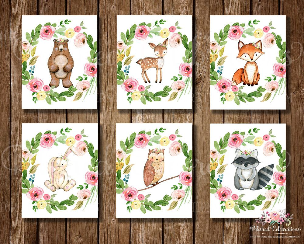 Bottle brush woodland animals - Woodland Animals Set 8x10 Nursery Art Printable Floral Wreath Watercolor Instant Download Baby Shower Theme Decor Bedroom Wall Art