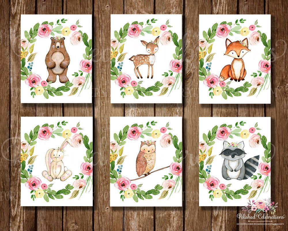 Woodland Animals Series / 8x10 Nursery Art / Floral