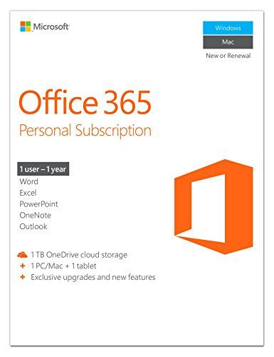 Microsoft Office 365 Personal 1 Year Subscription 1 User Pc Mac Key Card By Microsoft Software Platform Windows 8 7 10 Office 365 Personal