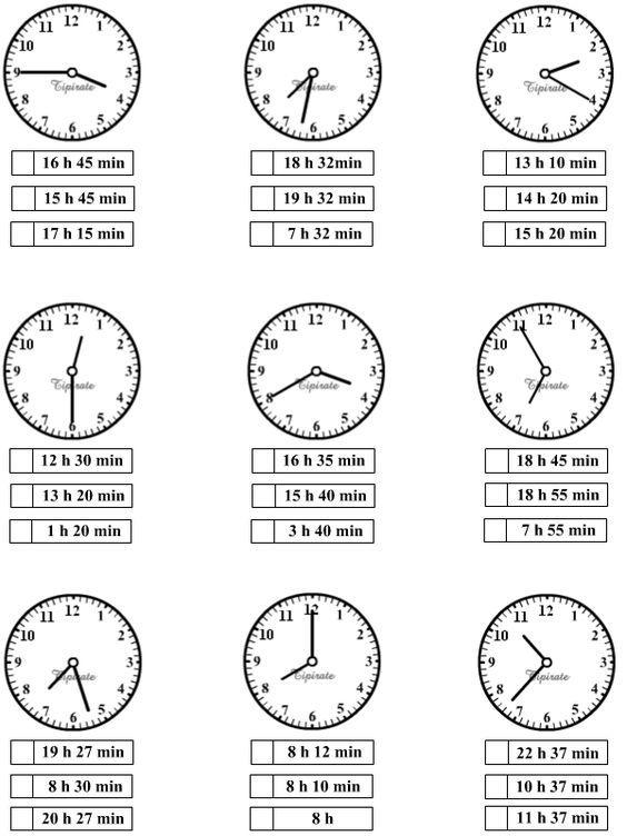Exercices pour apprendre à lire l'heures | Apprendre à lire l'heure, Exercice ce1 à imprimer ...