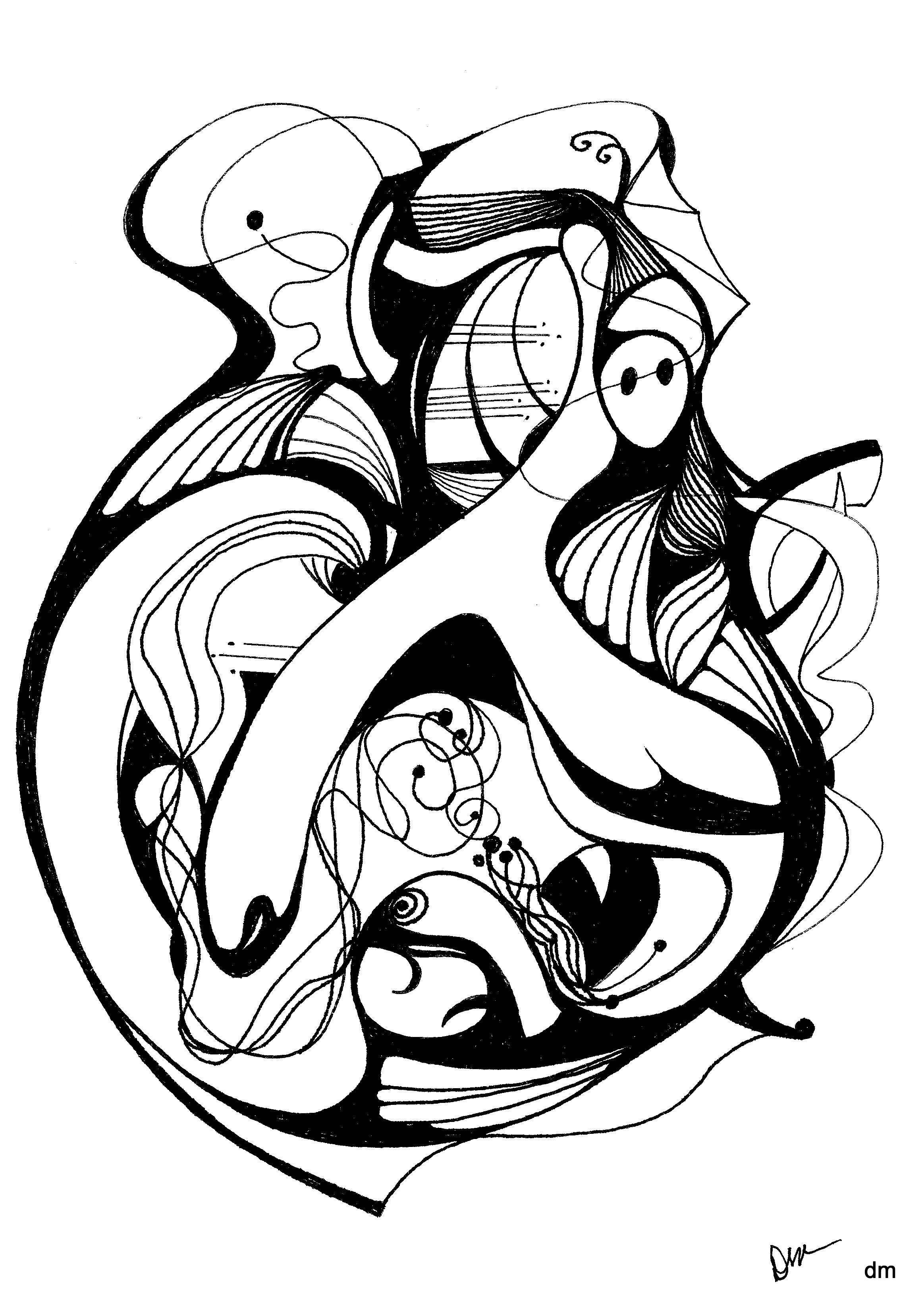 Pen ink abstract drawings