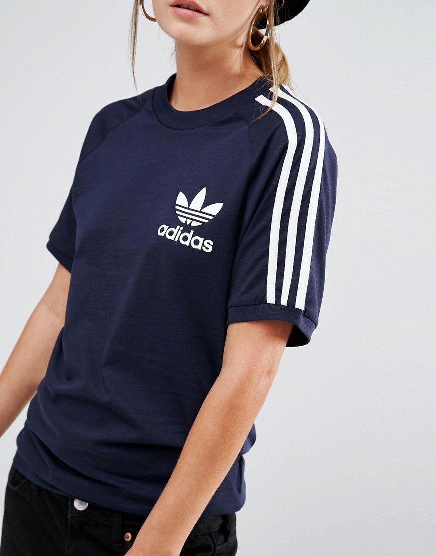 3abbf173d2 adidas Originals Adicolor Boyfriend T-Shirt With 3 Stripe | For the ...