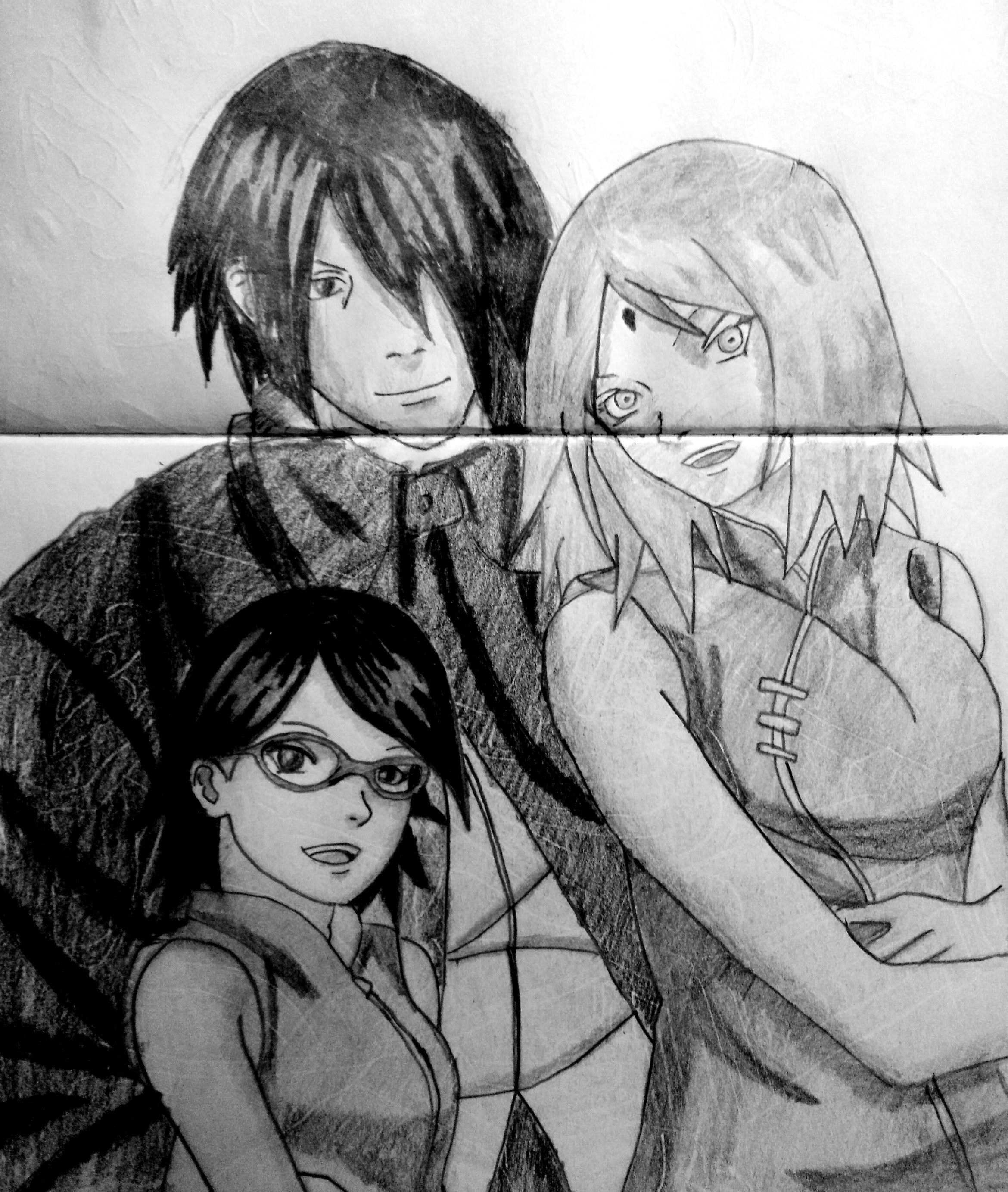 Speed drawing anime sasuke sakura and sarada naruto epilogue