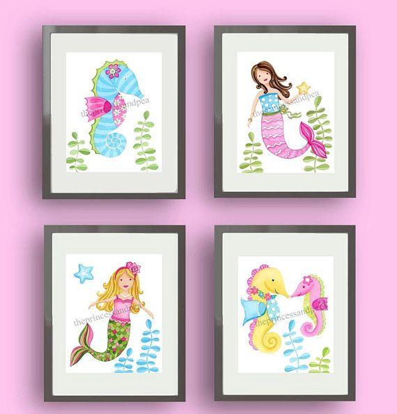 Mermaid Kids Art, Mermaid Seahorse Bedding, Mermaid Bathroom Art, Sea  Animals Wall Decor
