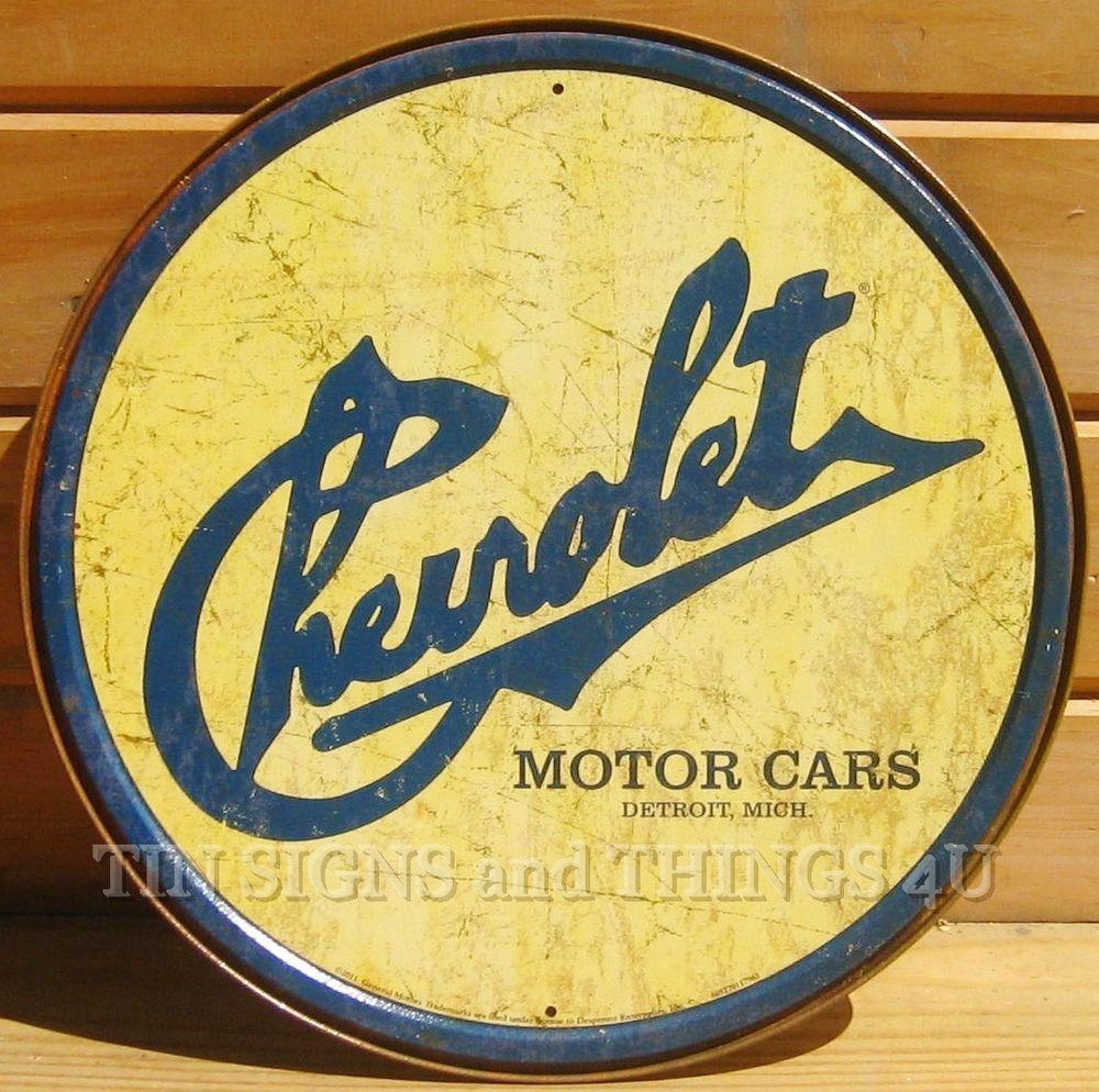 Garage Decor Signs Historic Chevrolet Motor Cars Round Tin Sign Detroit Vintage