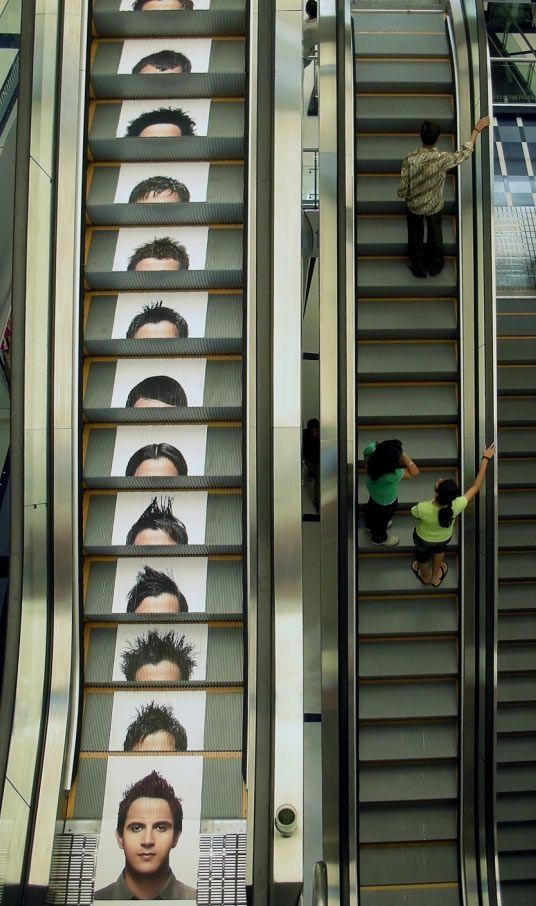 Juice salon, India, uses creative escalator advertising