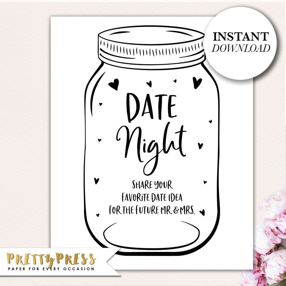 Date Night Jar Date Jar Sign Cards Date Night Idea Card Date Night Ideas Signs Printable Wedding Bridal Shower Pdf Instant Download Date Night Jar Printable Signs Date Night
