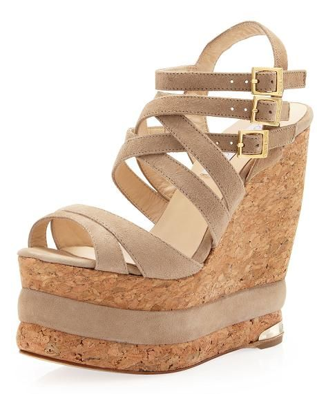 "Paloma Barcelo' ""Larina"" triple-platform wedge sandal in taupe, Neiman Marcus Last Call"