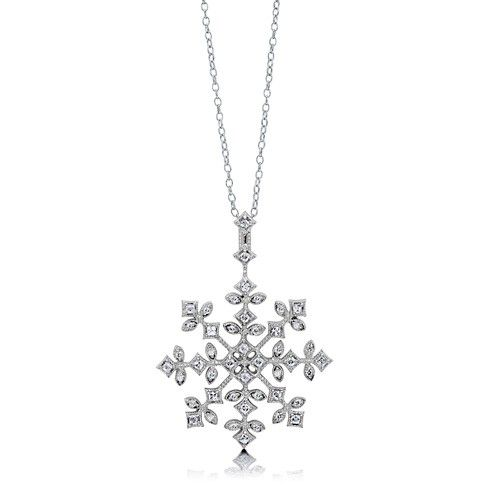 Sterling Silver Cz Snowflake Pendant Necklace Snowflake Necklace Snowflake Pendant Jewelry