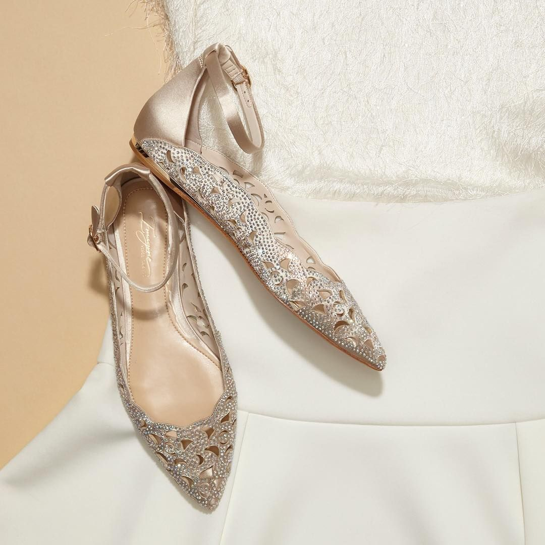 """Vince Camuto on Instagram: """"Who said flats weren't okay for your wedding day? Add some sparkle to your bridal look in the Garyn. Pair with a white pantsuit, or simply…"""""""
