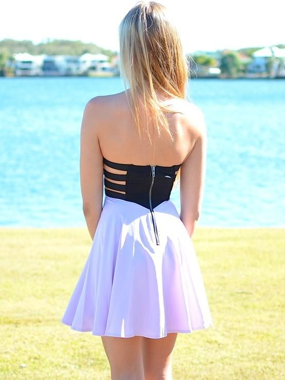 Long Hair Lilac Strapless Dress Hairstyles For Long Hair