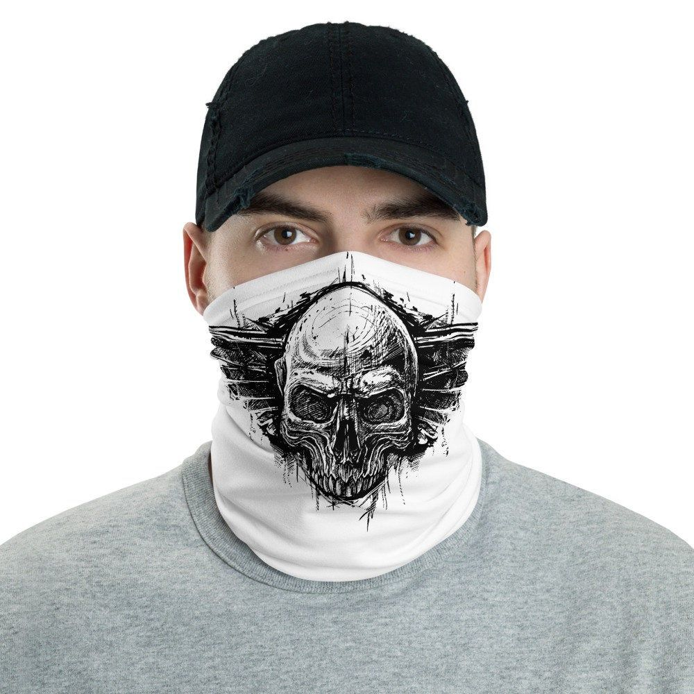 Skull Gothic Neck Gaiter Black Cool Face Shield Mask Gang Gothic Bandanna And Face Covering Mask For Your Boyfriend Cool Neck Warmer In 2020 Neck Gaiter Neck Gaiters Black Headband