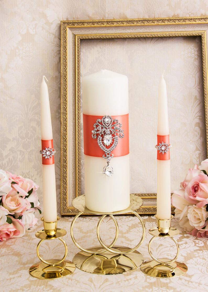 Coral Wedding Candles, Wedding Unity Candle set, Wedding Unity, Candle Set, Pillar Candle, Crystal Wedding Candles, Custom Unity Candles #whitecandleswedding