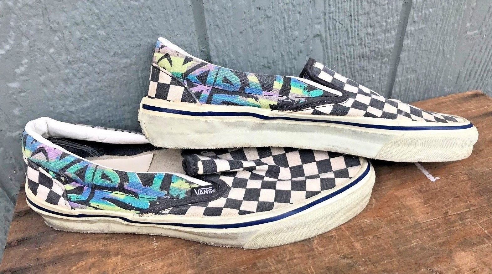 7fe4874f6684 Vintage 1980 s VANS Checkerboard   Graffiti Slip On Skateboarding Shoes 9.5  USA