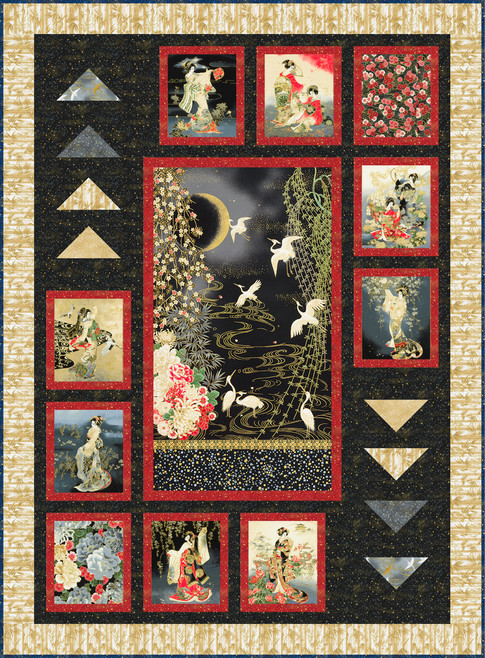 Geishas In The Moonlight Free Pattern Robert Kaufman Fabric Company In 2020 Japanese Quilt Patterns Asian Quilts Japanese Quilts