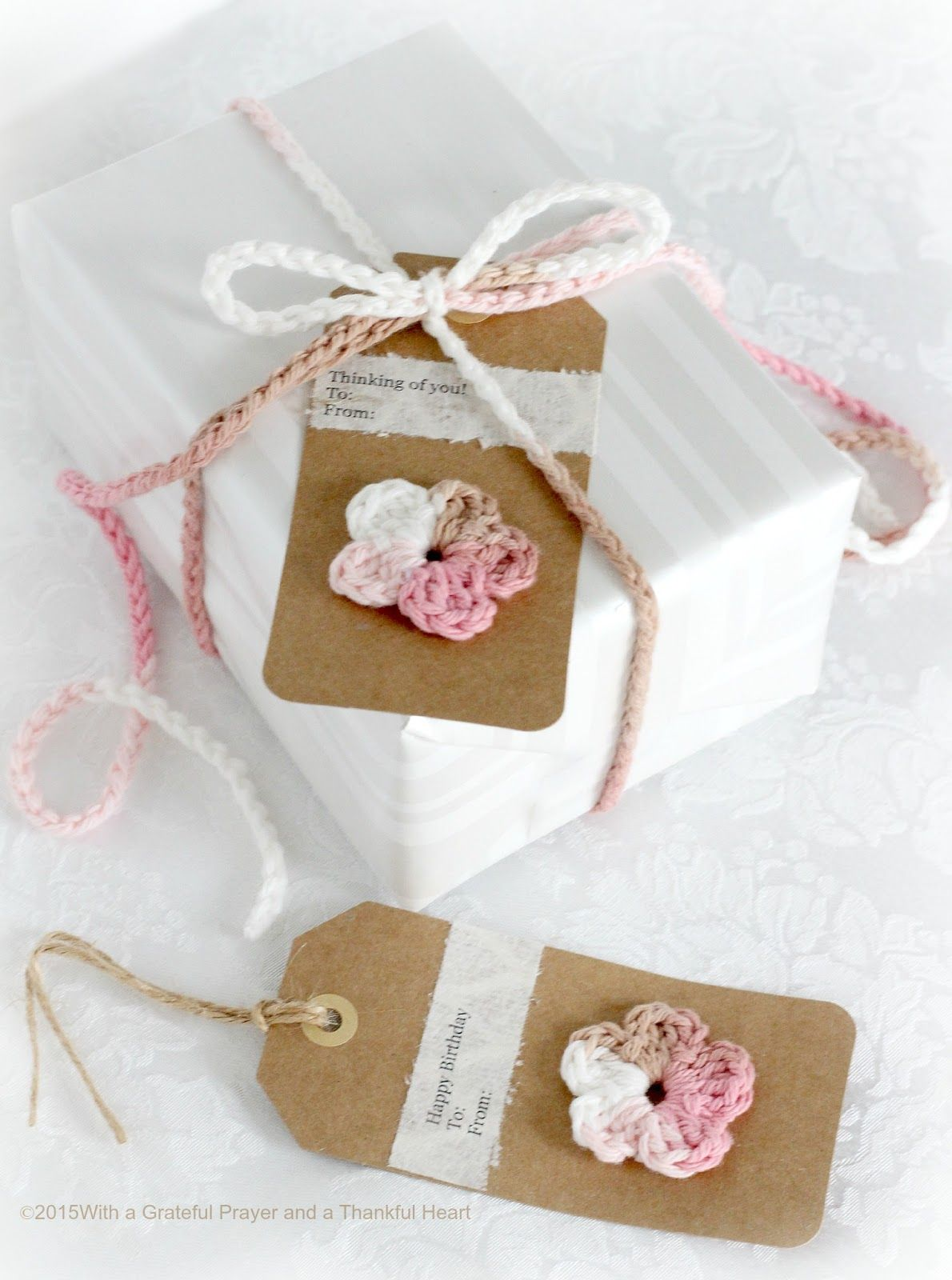 Crochet Gift Tags, Ties & Bows | Grateful Prayer | Thankful Heart