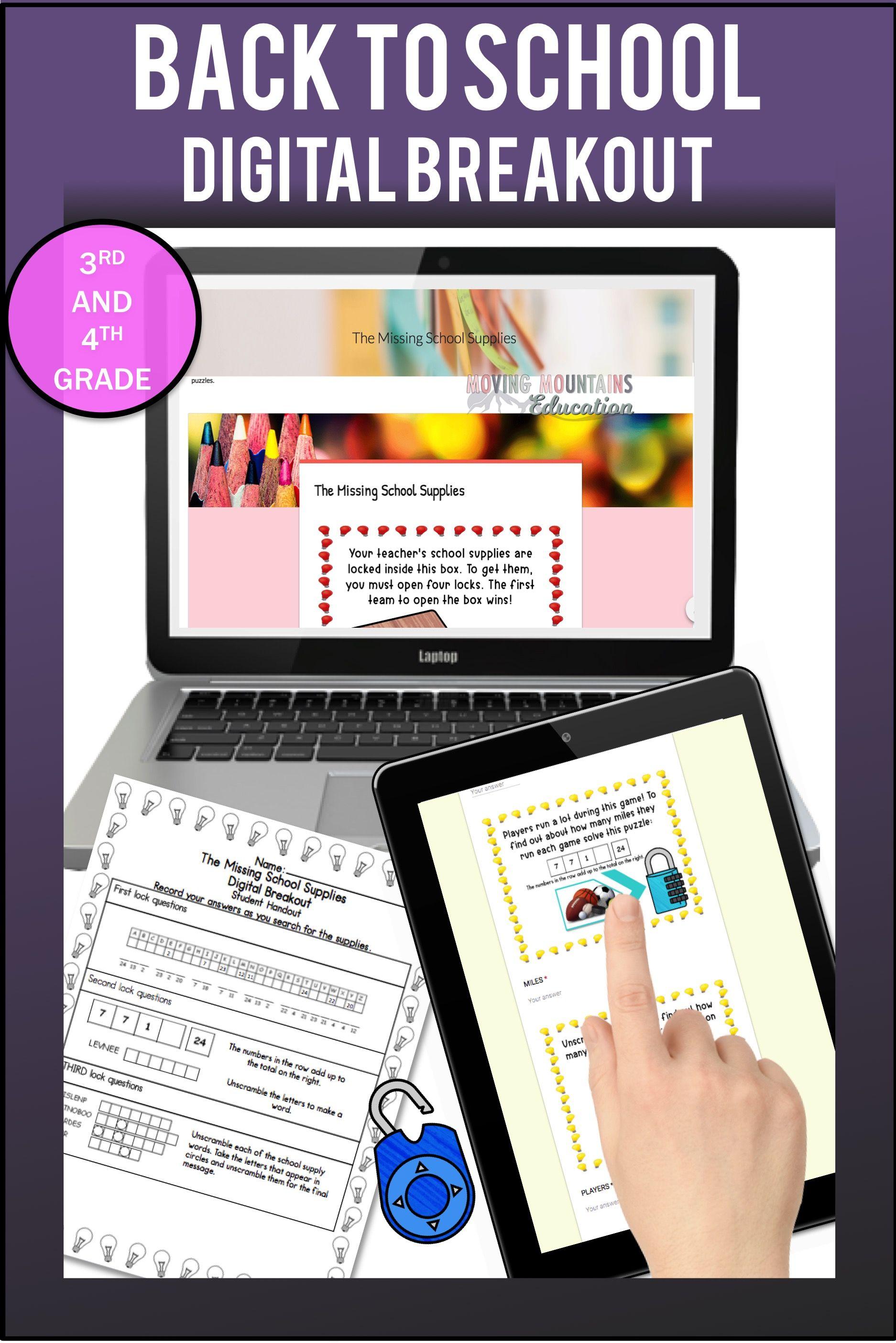 BACK to SCHOOL Activity Digital Breakout | Back to school ...