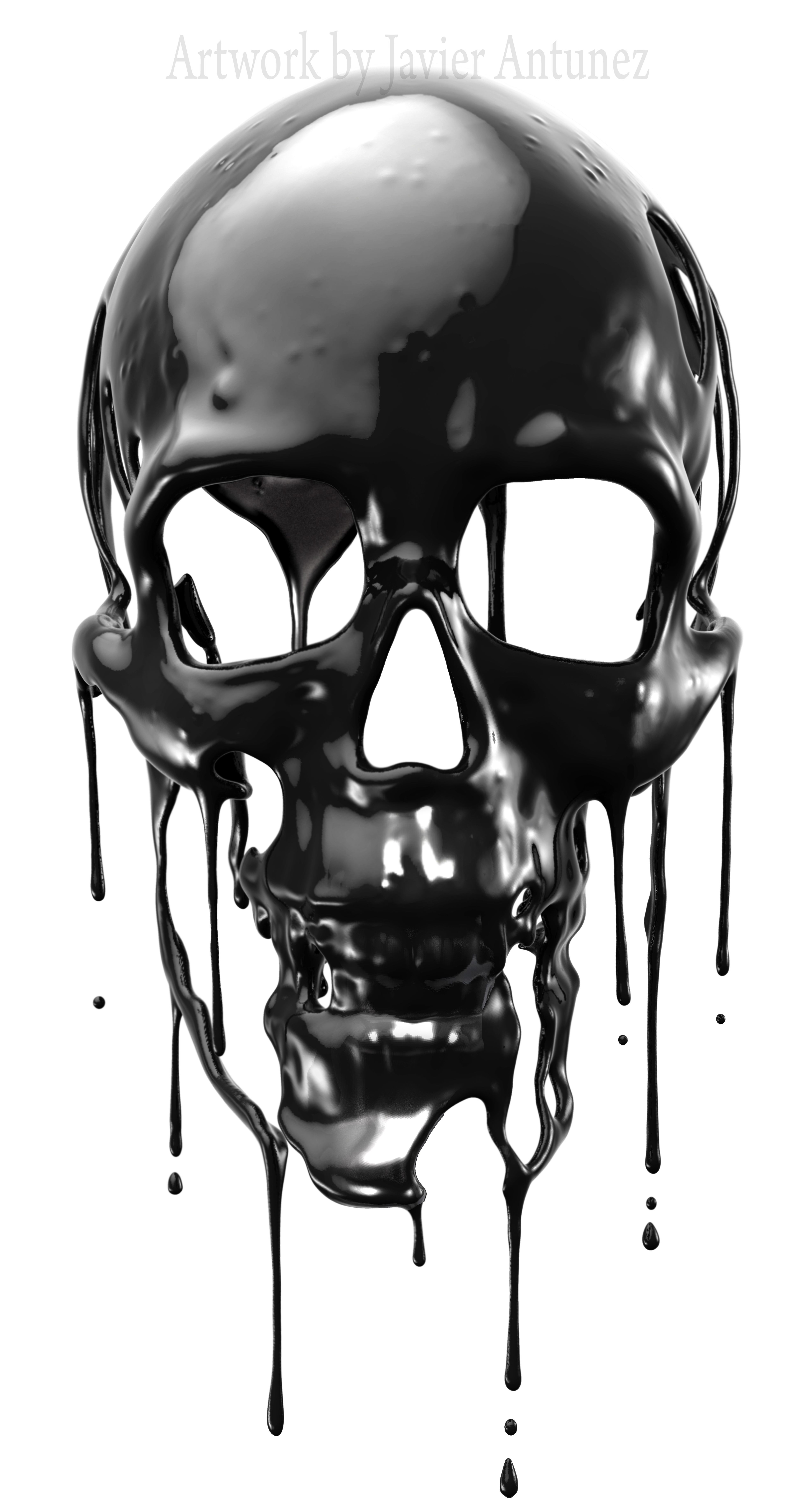Dripping skull Rendered using Zbrush, then finalized in Photoshop by Javier Antunez, Owner/Artist of Tattooed Theory Customs, INC.   for contact and b…