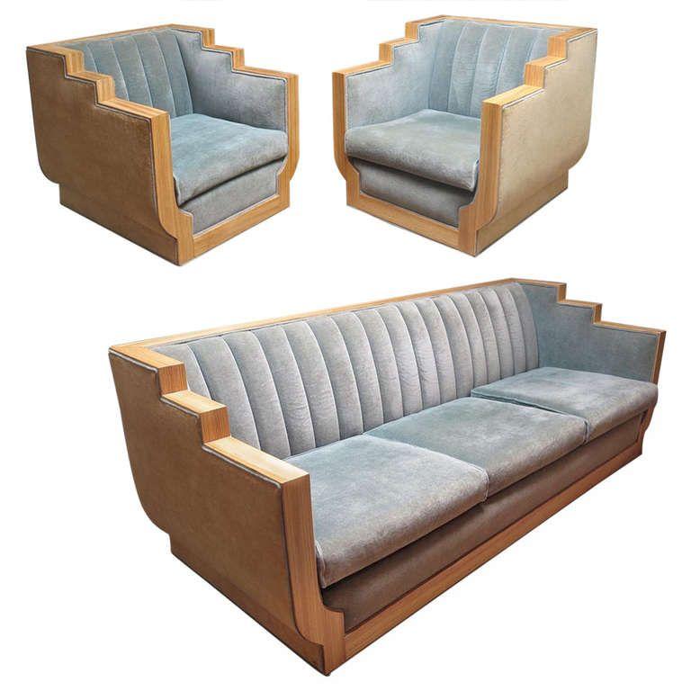 Art Deco Style Sofa Set In Two Toned Mohair 1stdibs Com Art Deco Furniture Art Deco Sofa Contemporary Art Deco
