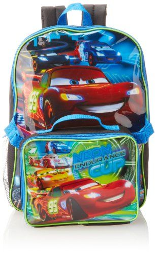 56e36ccf4272 Disney Boys 2-7 Cars Neon Backpack with Lunch Set