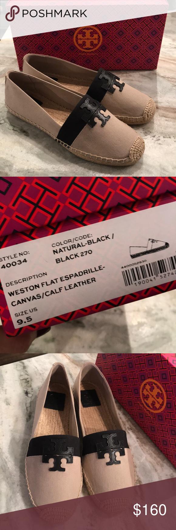 3f5657036d520 NIB TORY BURCH WESTON FLAT ESPADRILLE CANVAS 9.5 AUTHENTIC AND BRAND NEW IN  BOX NO DUST BAG NATURAL BLACK COLOR BLOCK SZ 9.5 ❌❌NO BUNDLE DISCOUNT❌❌ Tory  ...