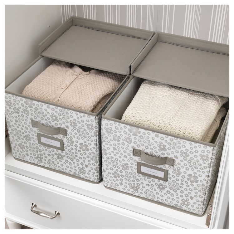 Storstabbe Box With Lid Beige 13 X19 X11 With Images Closet Storage Ikea Makeup Storage Drawers