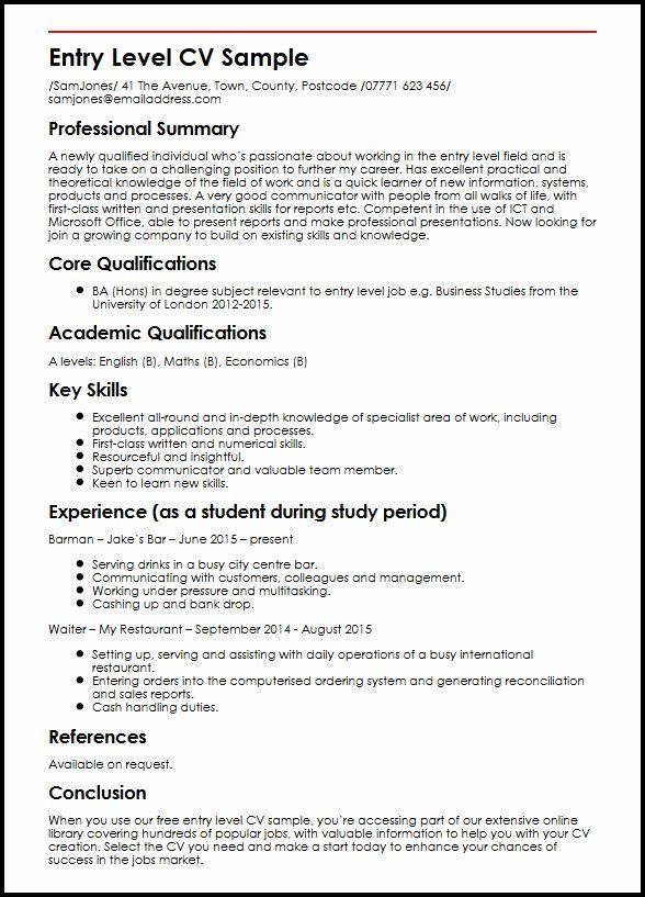 Entry Level Social Work Resume Best Of Entry Level Cv Sample Myperfectcv Job Resume Examples Entry Level Resume Job Resume Samples