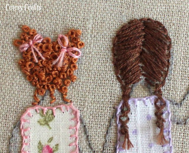 Curly Hair With Bows Embroidery Hoop Crafts French Knot