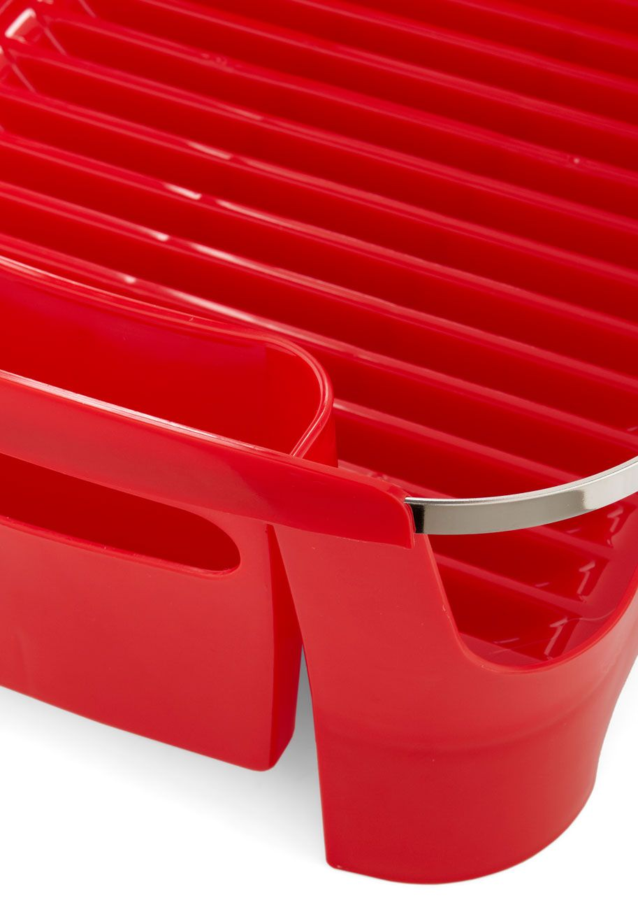 Chore I Can Dish Rack in Red. For some hostesses, cleaning up after a cocktail celebration or potluck feast can really muddle the fun - but you never have trouble finding a helping hand with this cherry-red dish rack beside your sink! #red #wedding #modcloth