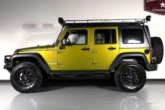 Well modified rescue green Jeep Rubicon