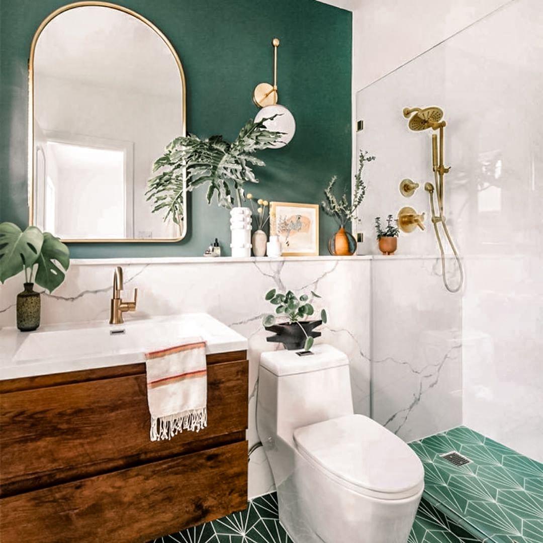 48 Green Bathroom Ideas For Colorful Interior Design Bathroom Red Boho Bathroom Bathroom Design Sage green bathroom decor