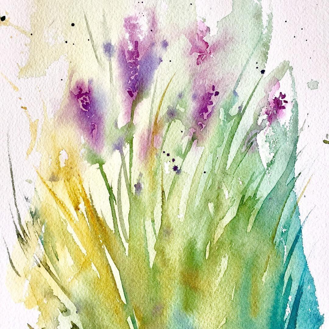 Et Encore De La Lavande Aquarelle Watercolor Lavande Fleurs