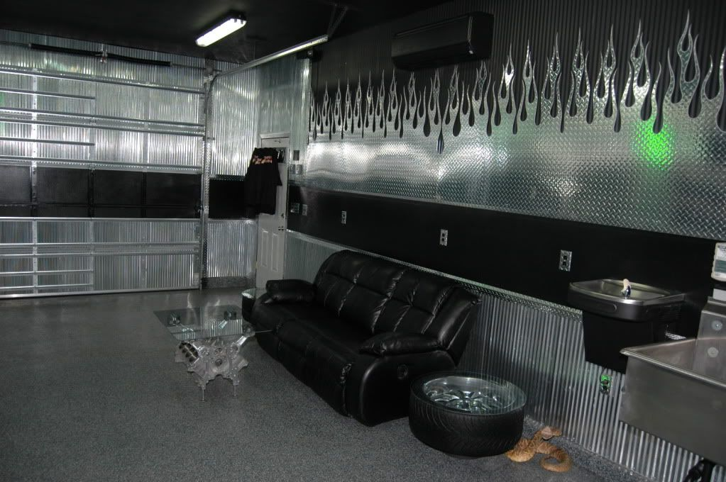 Diamond Plate Flame Garage | Double Recliner, Wall Of Diamond Plate Flames,  Stainless Utility