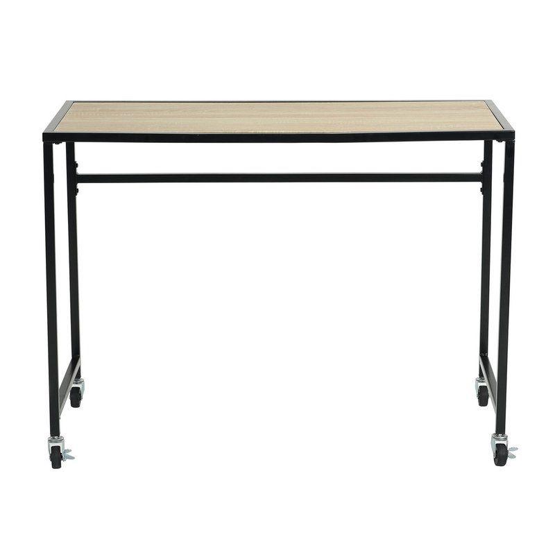 Oberry Desk Metal Table Base Glass Computer Desks Brown Wood