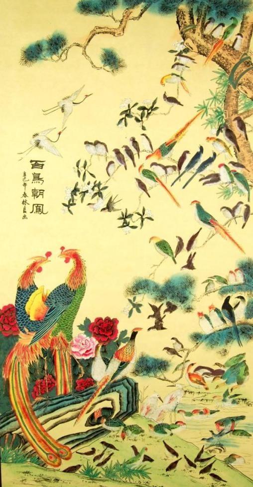 100 Birds Bow to the Phoenix Scroll Wall Art | asian wallpaper ...