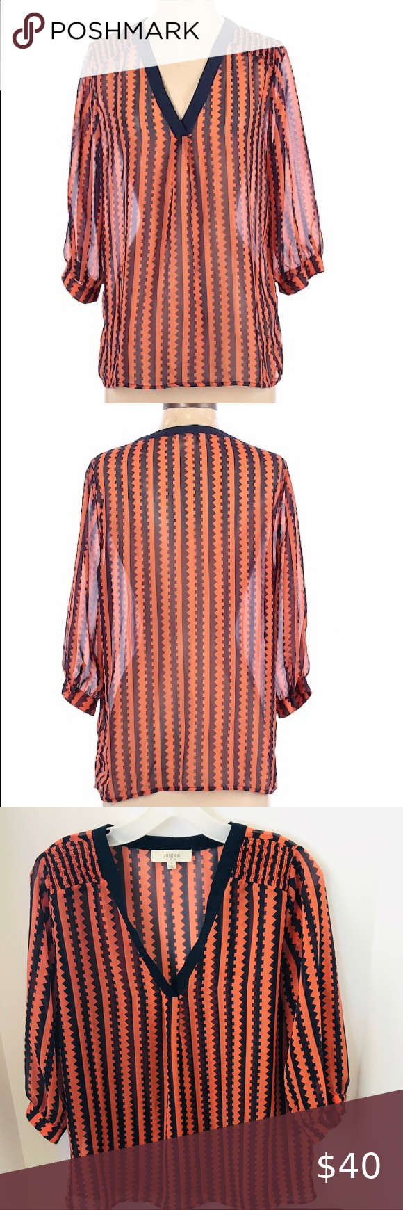 Cotton Striped Blouse Size SM