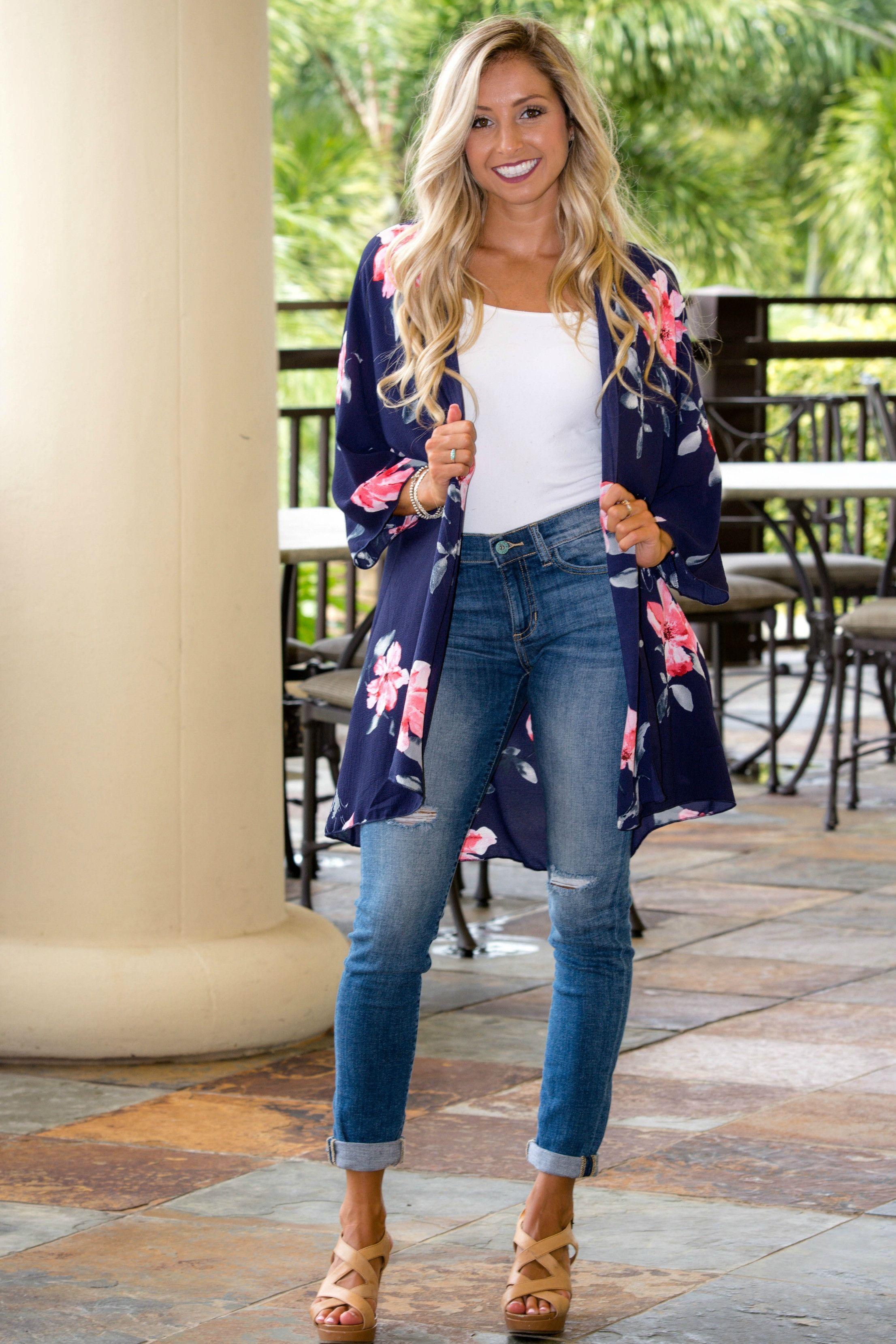 Navy Floral Kimono Cardigan | Summer Fashion | Pinterest | Floral ...