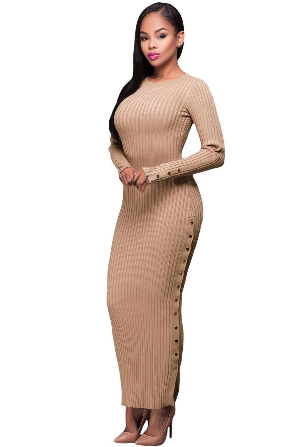 7f6956251850b Her Ribbed Knit Maxi Dress Khaki Trendsetter Long Sweater Dress ...