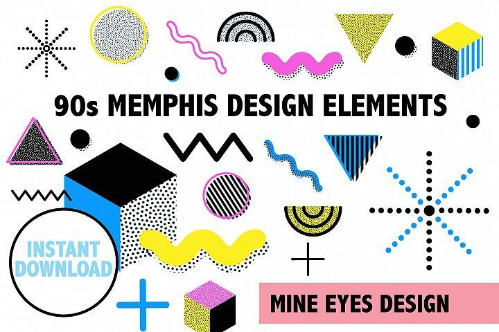 90s Memphis Design Elements #memphisdesign 90s Memphis Design Elements Mine Eyes Design Graphics Icons #memphisdesign