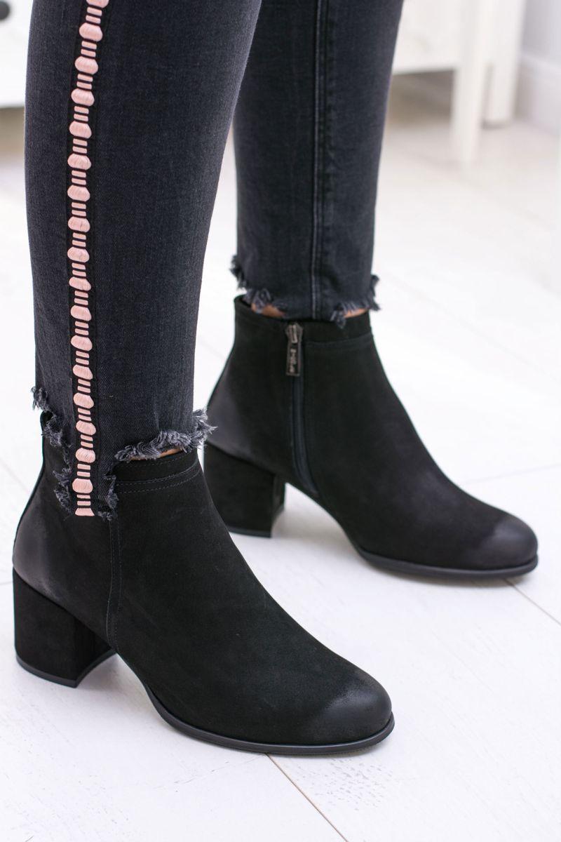 Damskie Czarne Skorzane Botki Na Slupku Nicole Ankle Boot Shoes Boots