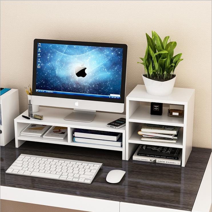 Computer Monitor Riser Ymiko Desktop Monitor Stand Lcd Tv Laptop Rack Computer Screen Riser Shelf Pl In 2020 Office Desk Decor Work Desk Decor Desk Organization Office