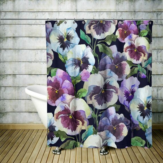Pansy Passion Shower Curtain Floral Decor By FolkandFunky On Etsy